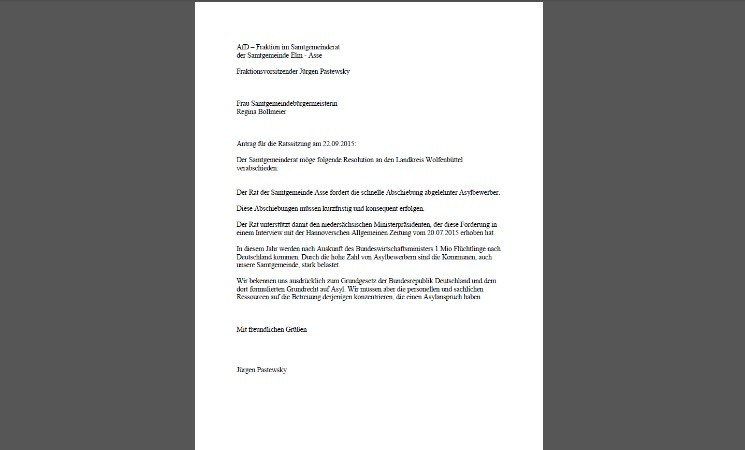 AfD Ratsfraktion - Resolution zum Thema Asyl