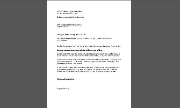 AfD Ratsfraktion - Resolution zum Thema Asyl